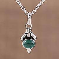 Malachite pendant necklace, 'Eden Promise' - Malachite and Sterling Silver Pendant Necklace from India