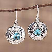 Sterling silver dangle earrings, 'Cosmic Beauty' - Blue Composite Turquoise and Sterling Silver Dangle Earrings