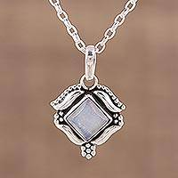 Rainbow moonstone pendant necklace, 'Ethereal Promise' - Rainbow Moonstone and Sterling Silver Pendant Necklace