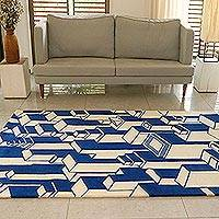 Wool area rug, 'Delhi Heights' (5x7.5) - Hand Tufted Indian Sapphire and Ivory Wool Rug (5x7.5)