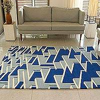 Wool area rug, 'Magical Maze' (5x7) - Hand Tufted Blue and Ivory Wool Rug from India (5x7)