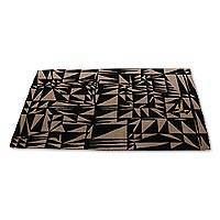 Wool area rug, 'Midnight Blush' (5x7) - Hand Tufted Apricot and Jet Black Wool Rug (5x7)