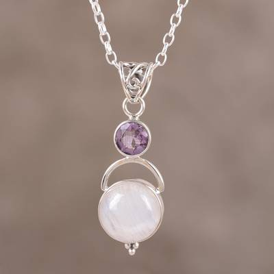 Rainbow moonstone and amethyst pendant necklace, 'Alluring Serenity' - Sterling Silver Rainbow Moonstone Amethyst Pendant Necklace
