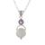 Rainbow moonstone and amethyst pendant necklace, 'Alluring Serenity' - Sterling Silver Rainbow Moonstone Amethyst Pendant Necklace (image 2a) thumbail