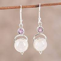 Rainbow moonstone and amethyst dangle earrings 'Alluring Serenity' - Sterling Silver Rainbow Moonstone Amethyst Dangle Earrings