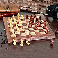 Wood chess set, 'Chess Club' - Babul Acacia Haldu Wood Chess Set Convertible Storage Box