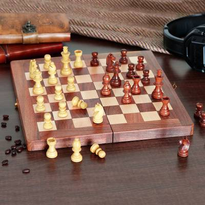 Wood chess set, 'Masters' - Babul Acacia Haldu Wood Chess Set Convertible Storage Box