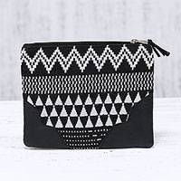 Cotton cosmetic bag, 'Monochrome Magic' - Handmade Black and White Cotton Cosmetic Purse from India