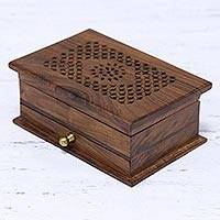 Wood jewelry box, 'Floral Dignity' - Handmade Floral Jali Acacia Wood Jewelry Box from India