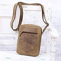 Unisex leather shoulder bag, 'Suave Style' - Handcrafted Unisex Tan Leather Sling or Shoulder Bag