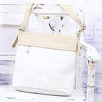Leather shoulder bag, 'Indian Fashion' - White Leather Shoulder or Sling Bag from India
