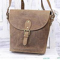 Leather sling bag, 'Journey Home' - Handcrafted Tan Leather Sling Bag from India