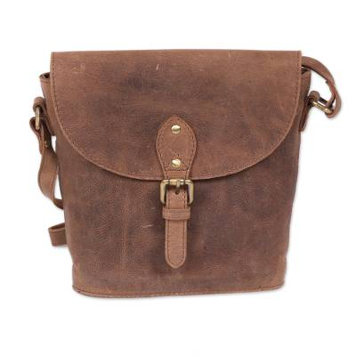 Handcrafted Tan Leather Sling Bag from India