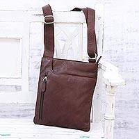 Leather shoulder bag, 'Sophisticated Fancy' - Handcrafted Brown Leather Shoulder or Sling Bag