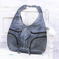 Leather hobo bag, 'Smoky Allure' - Handcrafted Grey Leather Hobo Shoulder Bag from India