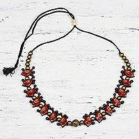 Ceramic beaded necklace, 'Chirpy Birds' - Hand-Painted Ceramic Chirpy Bird Beaded Necklace from India