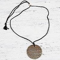 Ceramic pendant necklace, 'Golden Elegance' - Hand-Painted Golden Ceramic Terracotta Medallion Necklace