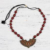 Ceramic pendant necklace, 'Divine Ganesha' - Red and Gold Divine Ganesha Ceramic Pendant Necklace