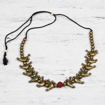 Ceramic beaded necklace, Golden Birds