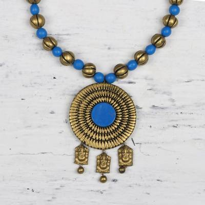 Ceramic pendant necklace, 'Golden Ganesha' - Hand-Painted Gold and Blue Lord Ganesha Medallion Necklace