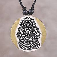 Ceramic pendant necklace, 'Concerned Ganesha' - Ceramic Golden Lord Ganesha Round Pendant Necklace