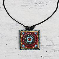 Ceramic pendant necklace, 'Floral Quadrangle' - Adjustable Hand-Painted Ceramic Square Pendant Necklace