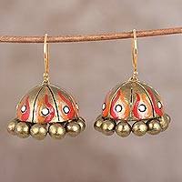 Ceramic dangle earrings, 'Flaming Beauty' - Hand-Painted Golden Ceramic Terracotta Flame Jhumka Earrings