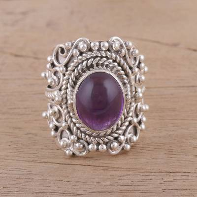 emerald ring enhancers and guards - Artisan Handmade 925 Sterling Silver Amethyst Cocktail Ring