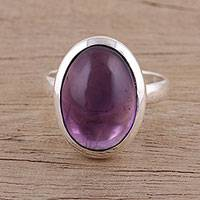 Amethyst cocktail ring, 'Dusky Dream' - Artisan Handmade Amethyst 925 Sterling Silver Cocktail Ring