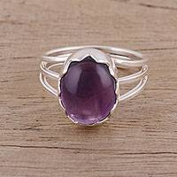 Amethyst cocktail ring, 'Royal Gleam' - Handmade 925 Sterling Silver Amethyst Cocktail Ring