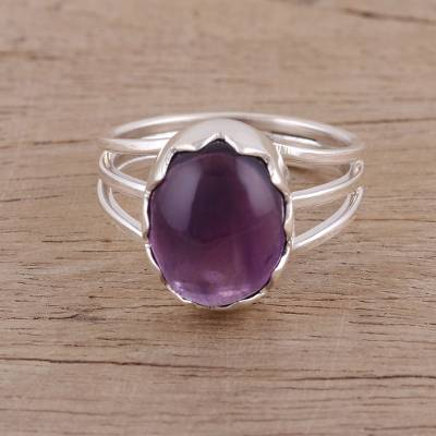 silver ring smells - Handmade 925 Sterling Silver Amethyst Cocktail Ring