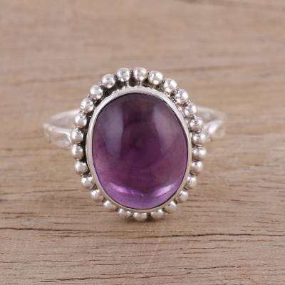 Amethyst cocktail ring, 'Serene Dream' - Artisan Handmade Amethyst 925 Sterling Silver Cocktail Ring
