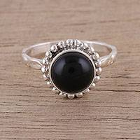 Onyx cocktail ring, 'Mystic Flower' - Handmade 925 Sterling Silver Onyx Cocktail Ring India