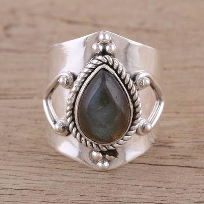 ring sets boho - Handmade Labradorite 925 Sterling Silver Cocktail Ring
