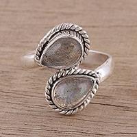 Labradorite cocktail ring, 'Twin Drops' - Artisan Handmade 925 Sterling Silver Labradorite Ring