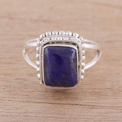 Handmade 925 Sterling Silver Lapis Lazuli Cocktail Ring