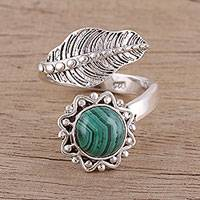 Malachite wrap ring, 'Forest Unity' - Handmade 925 Sterling Silver Malachite Leaf Wrap Ring