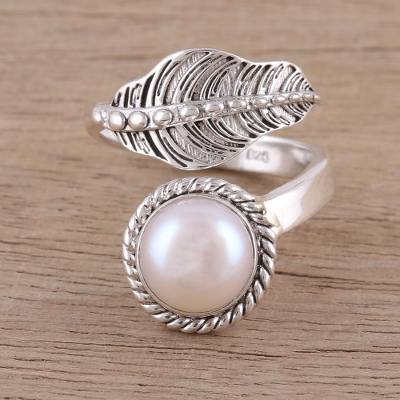 ruby ring enchanted osrs - Handmade 925 Sterling Silver Cultured Pearl Leaf Wrap Ring
