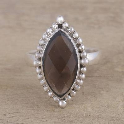 chatelaine pave bezel ring - Handmade Smoky Quartz 925 Sterling Silver Cocktail Ring