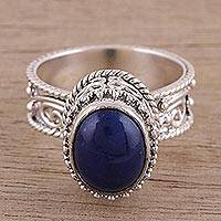 Lapis lazuli single stone ring, 'Delicate Blue' - Oval Lapis Lazuli Single Stone Ring from India
