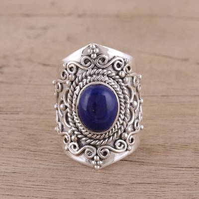 silver ring set boho flower