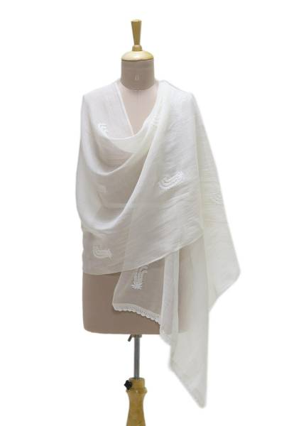 Cotton and silk blend shawl, 'Blooming Garden' - Warm White Embroidered Sheer Cotton and Silk Blend Shawl