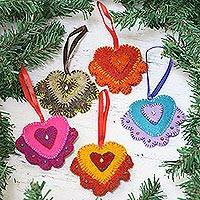 Wool felt ornaments, 'Heartwarming Holiday' (set of 5) - Handmade Heart Ornaments Crafted from Wool Felt (Set of 5)