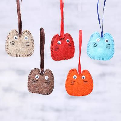 Wool felt ornaments, Waiting for Santa (set of 5)