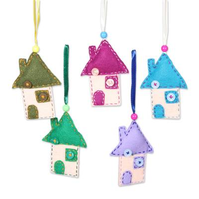 Charming House Shaped Wool Felt Ornaments (Set of 5)