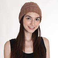 Wool blend hat, 'Knotted Beauty Ecru' - Hand-Knit Ecru Wool Blend Vertical Knots Hat from India