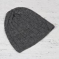 Wool blend hat, 'Knotted Beauty Graphite' - Graphite Hand-Knit Vertical Knots Wool Blend Hat from India