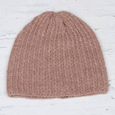Wool blend hat, 'Himalayan Waves Rosewood' - Rosewood Brown Hand-Knit Zig Zag Ribbed Wool Blend Hat
