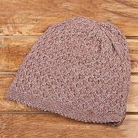Wood blend hat, 'Himalayan Comfort in Nutmeg' - Hand Knitted Nutmeg Brown Wool Blend Hat from India