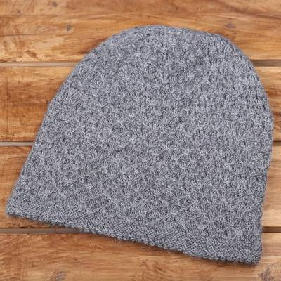 Wood blend hat, 'Himalayan Comfort in Grey' - Hand Knitted Stone Grey Wool Blend Hat from India
